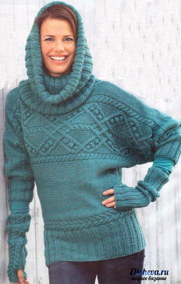 оригинальный пуловер с рукавами летучая мышь воротник хомут и