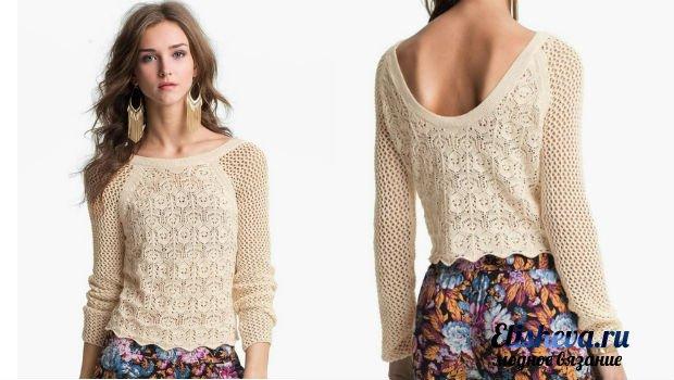 Нежный пуловер с глубоким