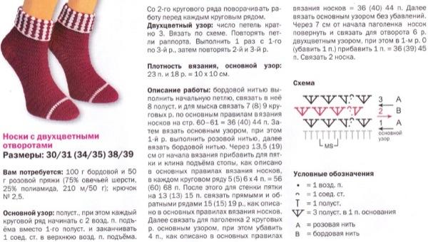 вязание носков крючком описание и схемы вязания бесплатно