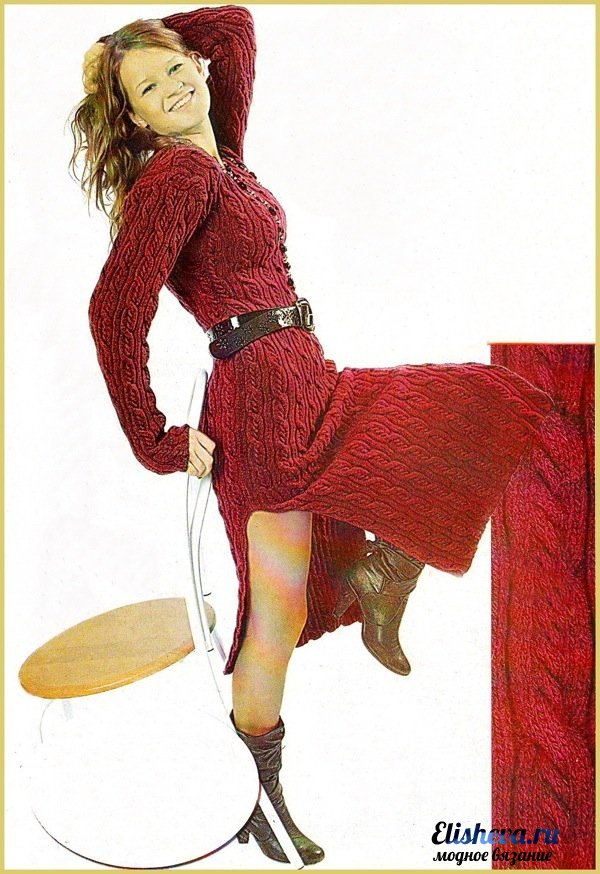 dc8bd309b0e6 Красное платье с рельефным узором. Вязаное спицами
