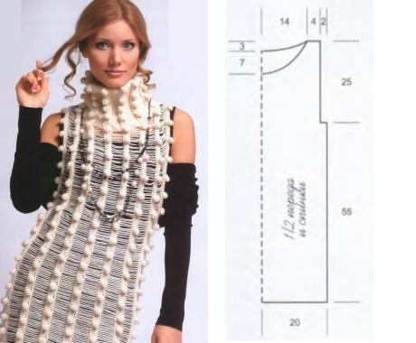 Вязание платье из шишечек