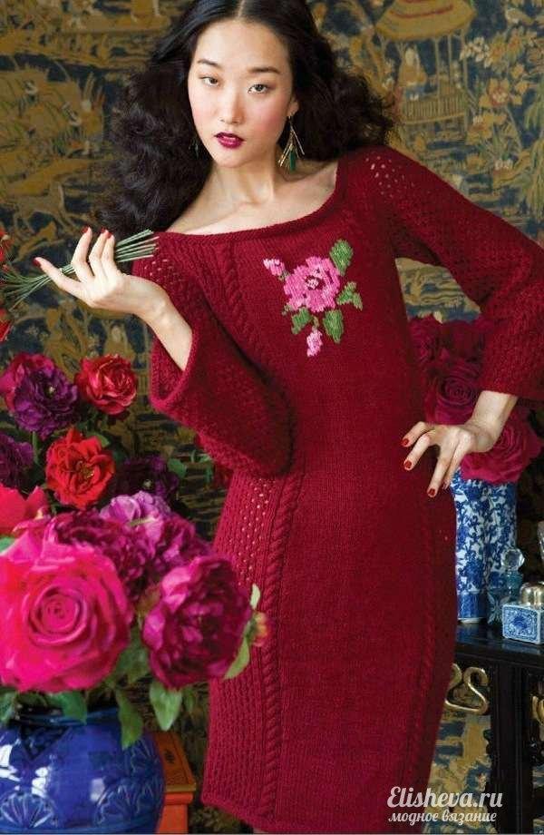 a376ca5adb16 Красивое красное платье с цветком. Вязаное спицами
