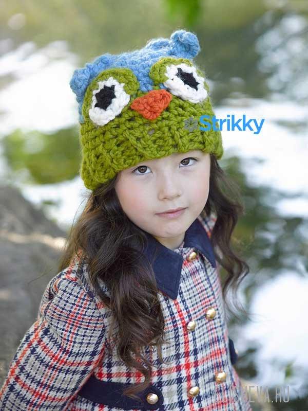 Детская шапка «Сова» вязаная