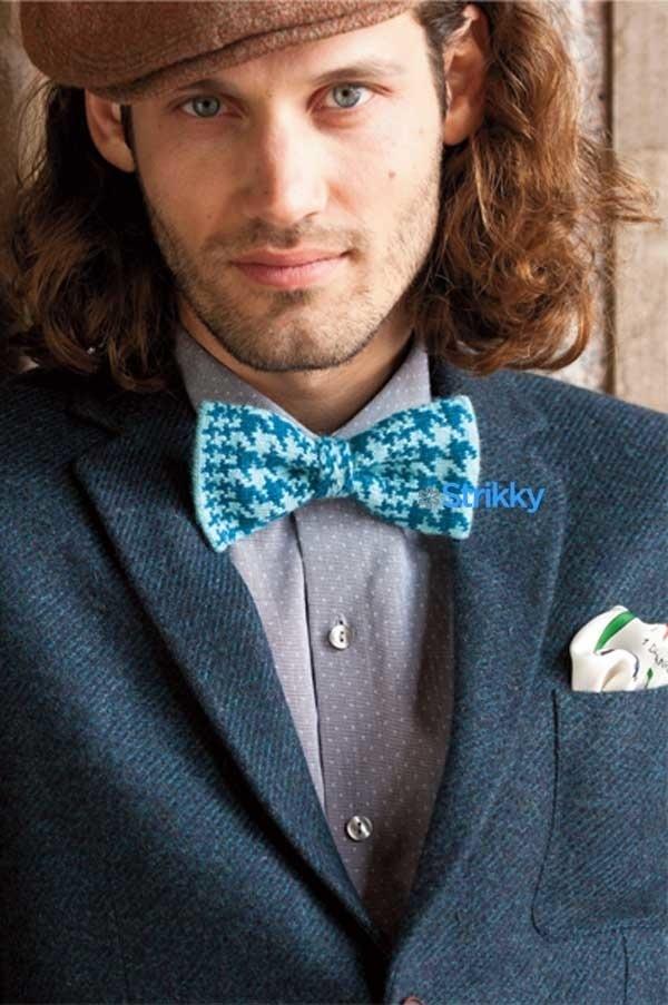 Галстук-бабочка из журнала Vogue Knitting Early Fall 2014 вязаная спицами