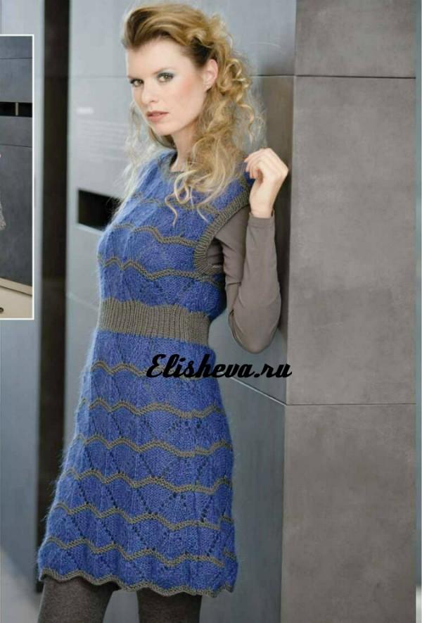 Ажур платье спицами для