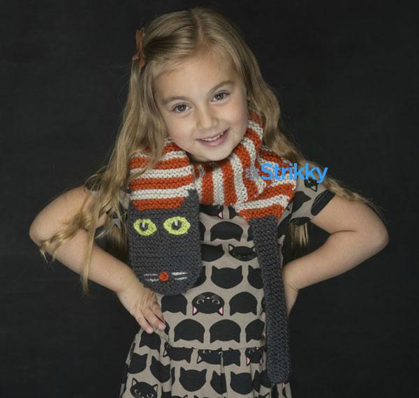 Забавный шарф «Полосатый кот» от Amy Bahrt вязаный спицами ...