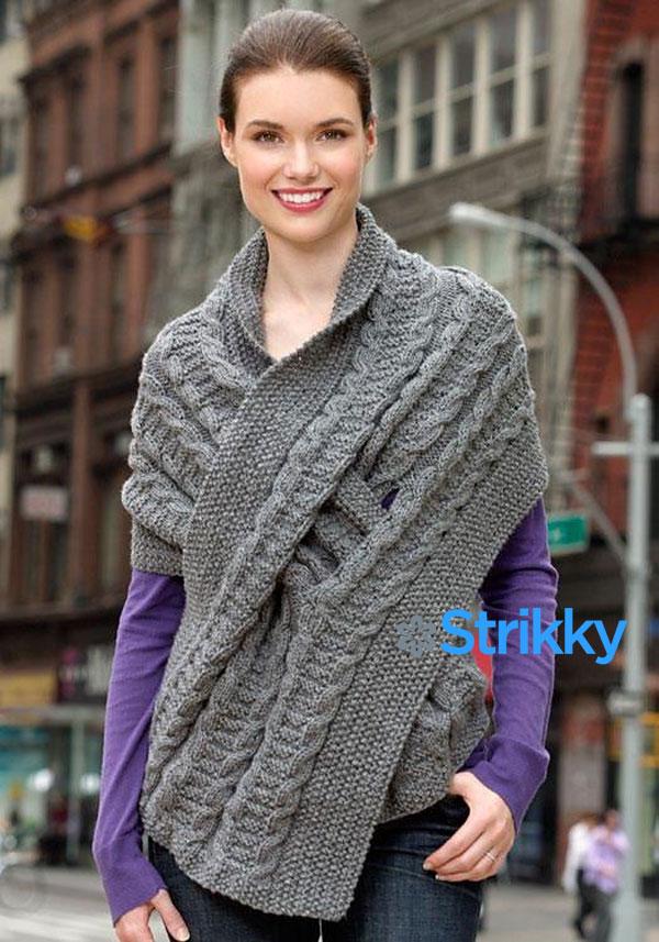 Широкий шарф с прорезью для