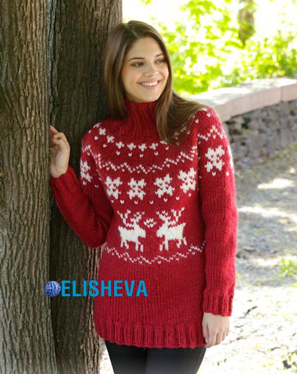 Схема свитера с оленями женский спицами фото 23