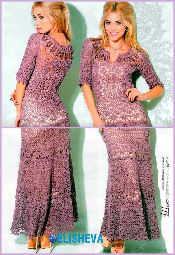 Шикарнейшее вязаное платье схема