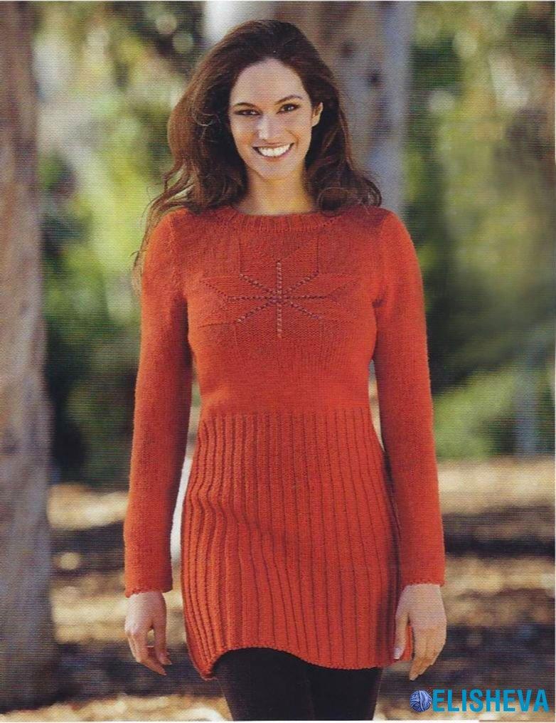 Вязание спицами туники платья зима 29