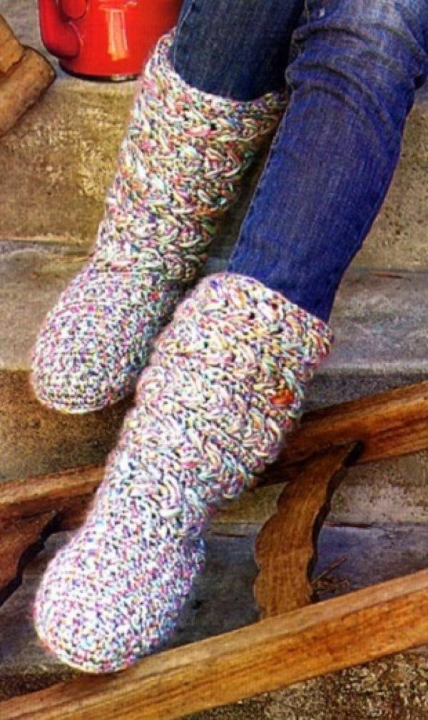 вязание крючком носков обуви