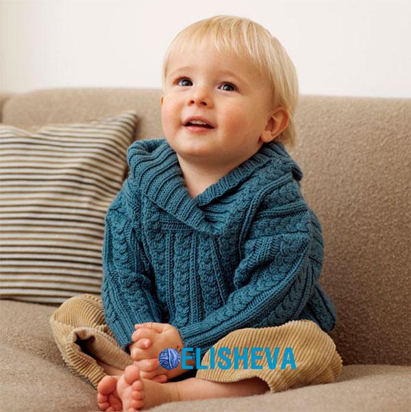 Нарядный пуловер с косами для