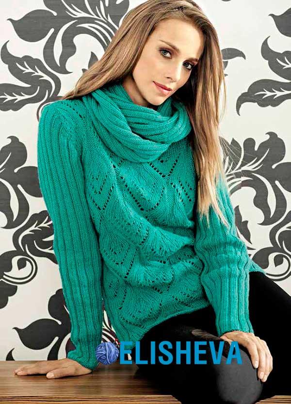 Узоры вязания ажурной шали Городская женщина