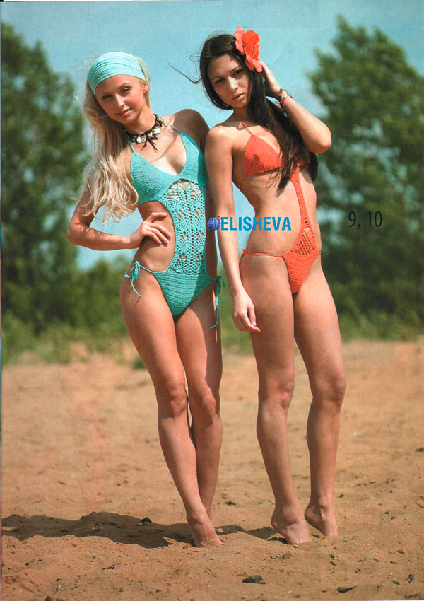 Две модели ажурных купальников: трикини и монокини, вязаные крючком
