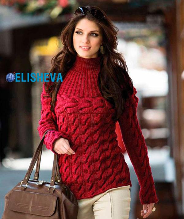 Женский пуловер с кокеткой и экстравагантными косами, вязаный спицами