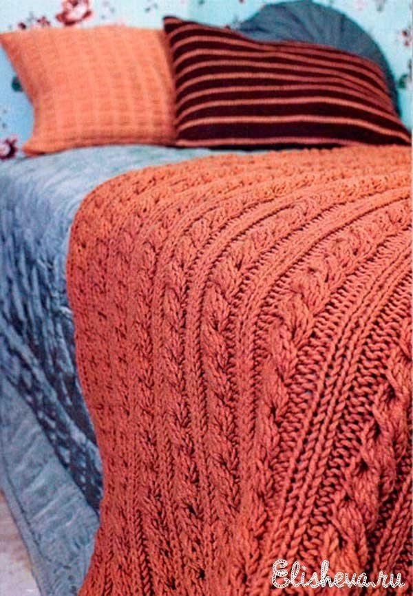 Плед (одеяло) с узором из кос, вязаный спицами