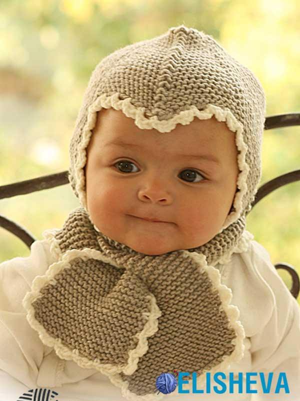 Чепчик и шарфик спицами для малыша от Drops Design ...