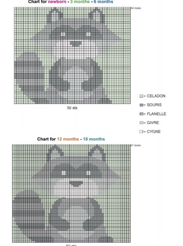 Схема для вязания енот