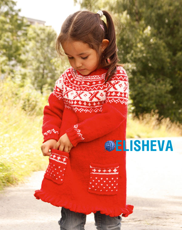 Платье для девочки с круглой кокеткой от Drops Design, вязаное спицами