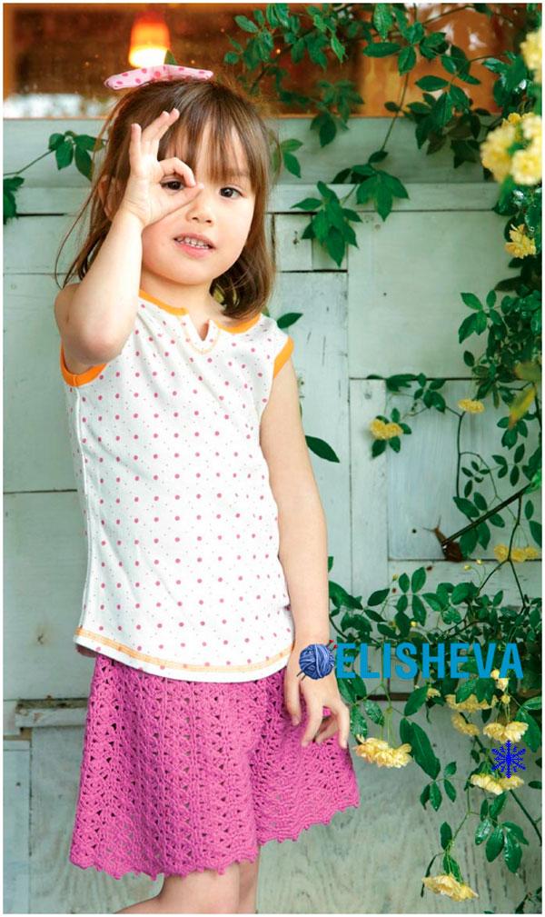 Юбка-шорты с ажурным узором для девочки, вязаные крючком