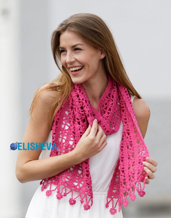 Ажурный шарф крючком с цветочной бахромой от Drops Design, вязаный крючком