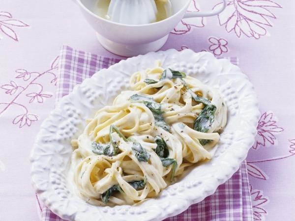 шпинат со спагетти со сливками рецепты-хв5