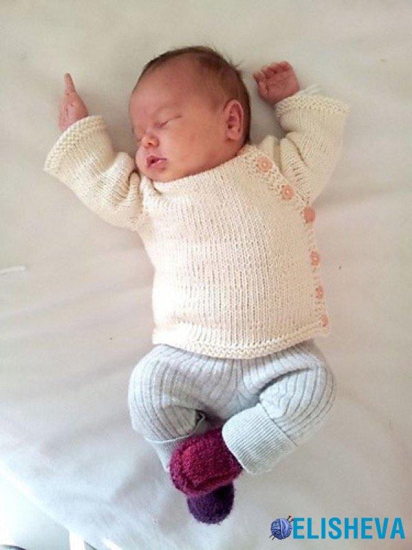 кардиган для новорожденного от Pekapeka Design Studio вязаный спицами