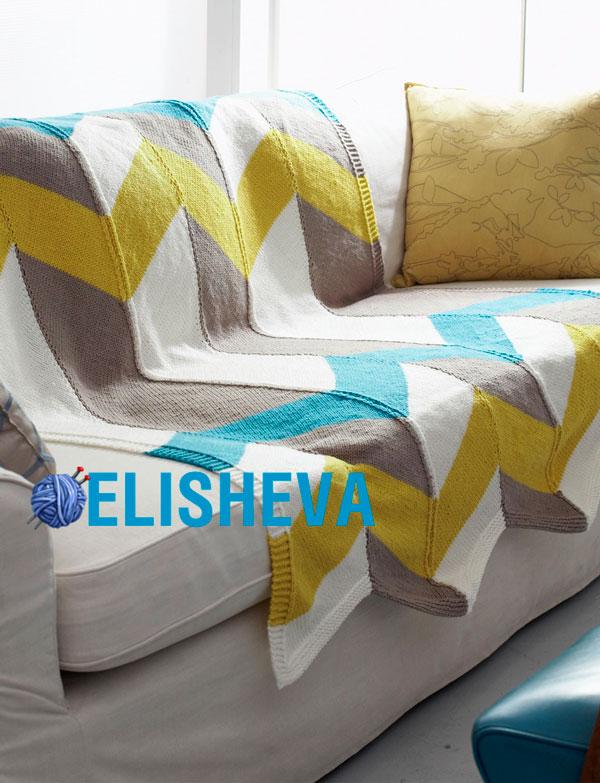 Трехцветное покрывало с шевронами от Bernat, вязаное спицами