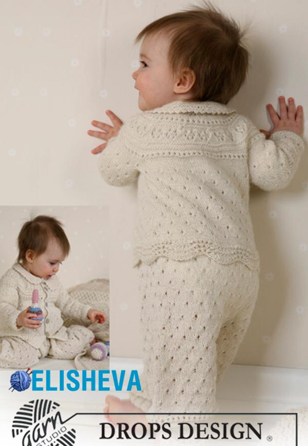 Комплект для малыша от Drops Design: жакет, чепчик, штаны и пинетки спицами и крючком