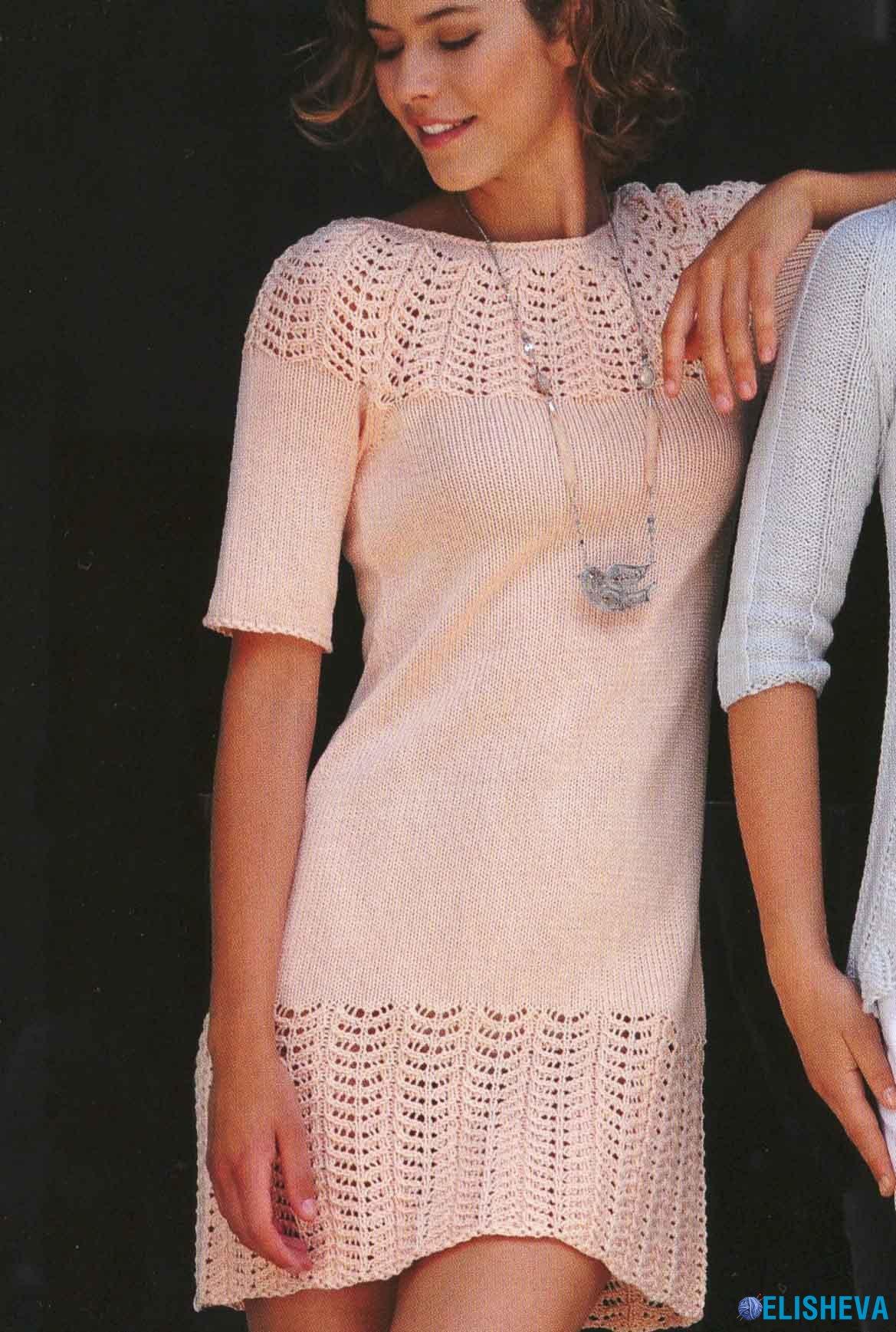Связать платье с ажурной кокеткой