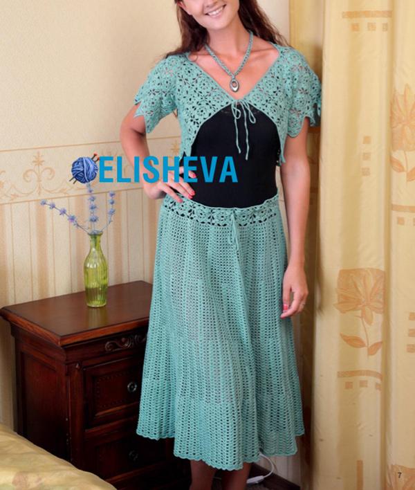 Летний костюм: юбка и короткий жакет крючком