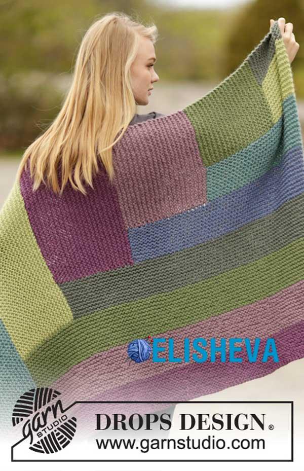 Разноцветный плед от Drops Design, вязаный спицами платочным узором