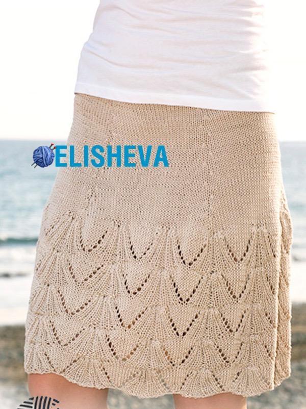 Ажурная юбка от Drops Design вязаная спицами