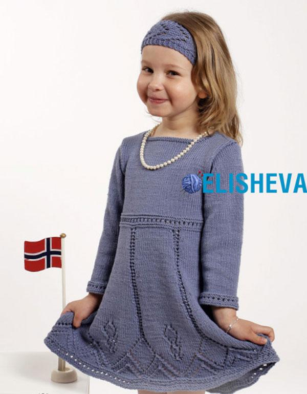 Вязание спицами теплое платье для девочки