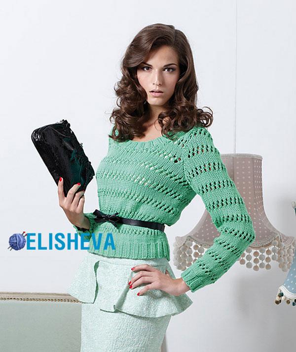 Вязание свитера модного спицами 63