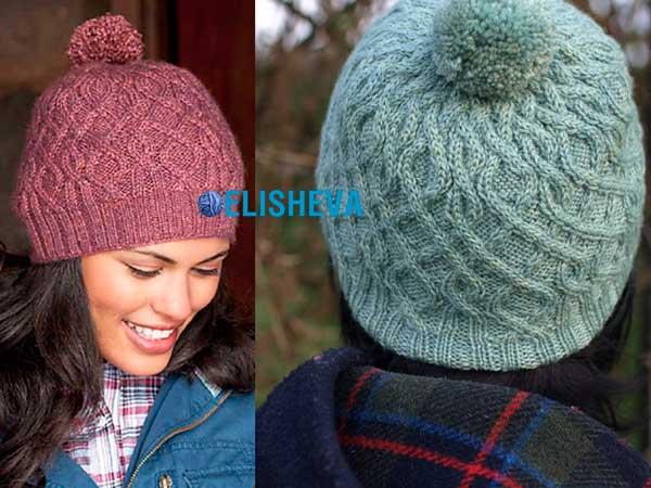 Красивые шапки спицами фото схема