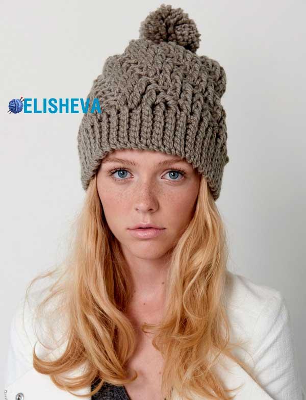 самая простая зимняя шапка крючком