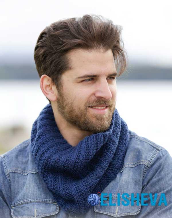 Простое вязание: снуд для мужчин с узором резинка. Бесплатное описание