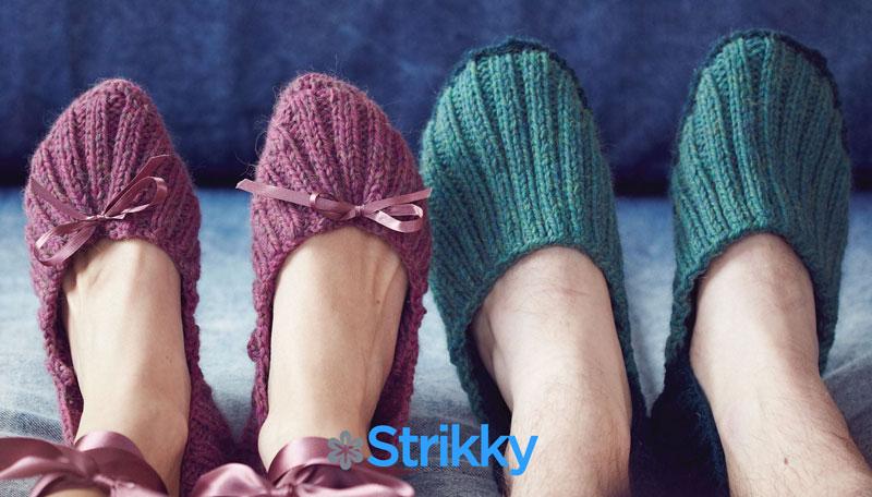 Мужские тапочки и женские балетки от Anni Howard вязаные спицами