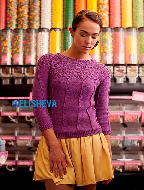 """Пуловер с круглой, ажурной кокеткой """"Пирожное"""" от Corrina Ferguson вязаный спицами"""