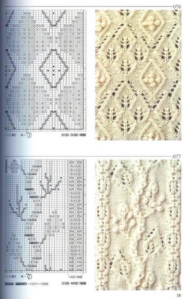 красивые узоры вязания спицами со схемами топ 30 араны ажур