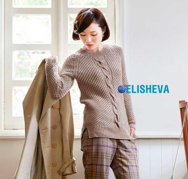 Пуловер реглан c рельефным узором и большой косой от Pierrot вязаный спицами