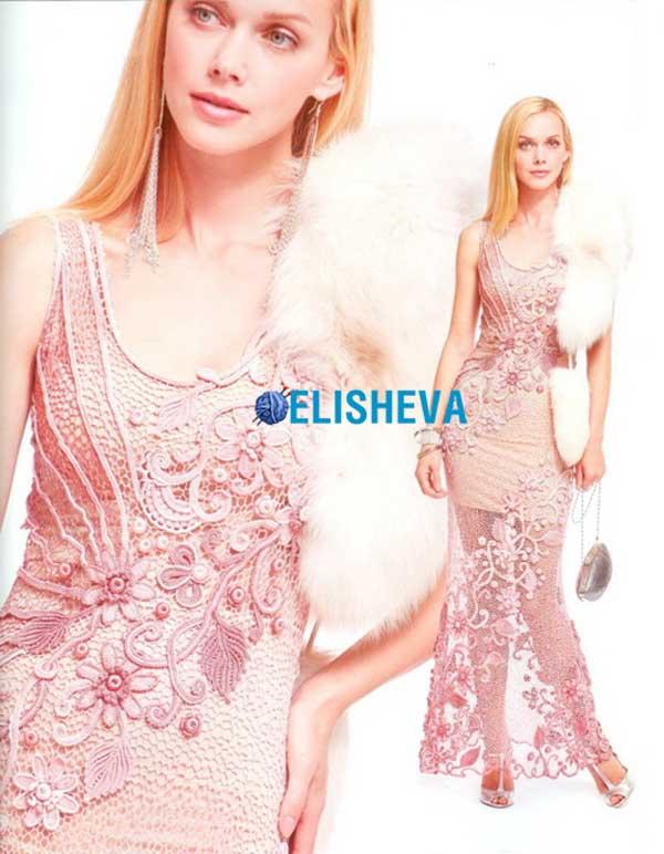 Изумительное вечернее платье в пол от Марины Шеиной вязаное крючком
