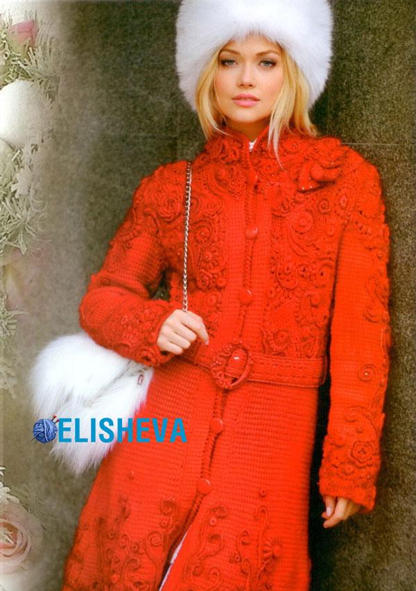 Шикарное пальто с техникой фриформ в стиле Dolce & Gabbana вязаное крючком