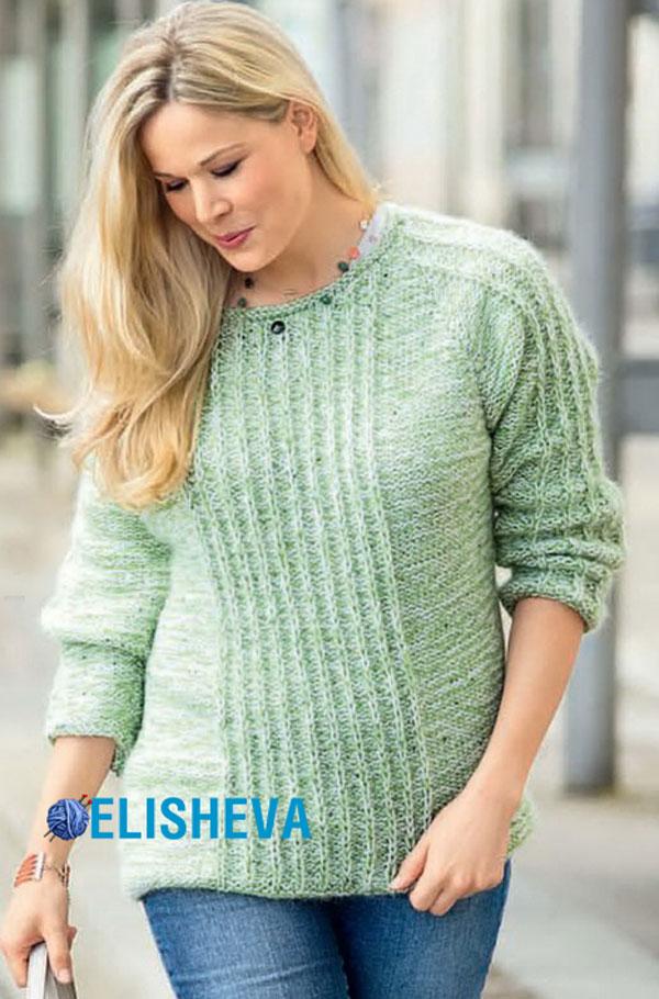 простое вязание для ничинающих женский пуловер описание для