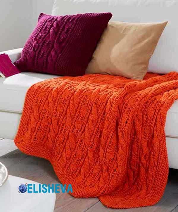 """Вязание для дома: Плед и подушка от Schachenmayr с узорами """"жгут"""" и """"ажур"""""""
