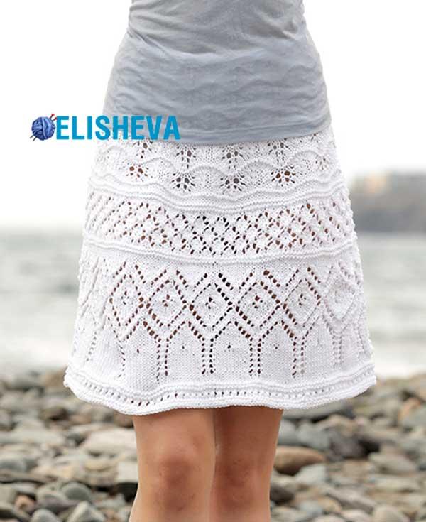 Весенне-летняя юбка из хлопка от Drops Design вязаная спицами