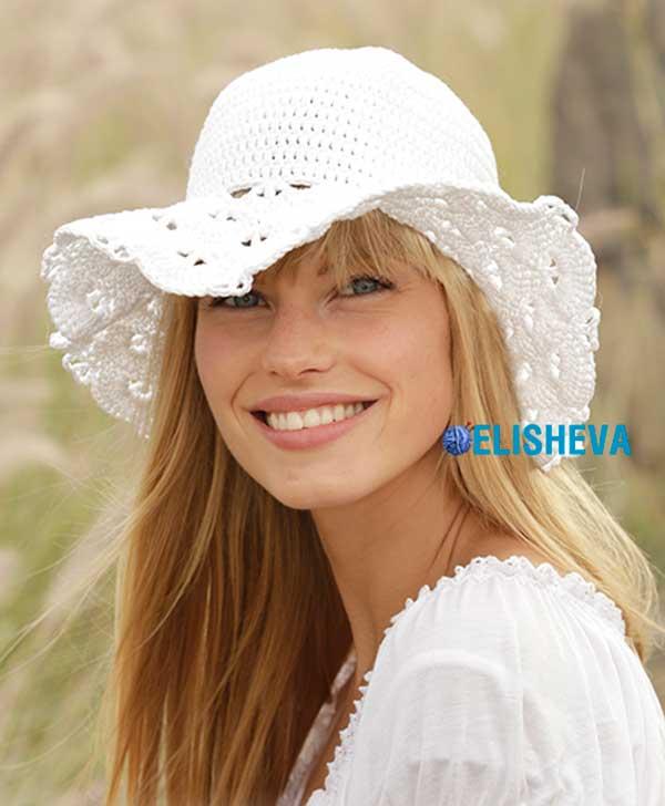 Ажурная летняя шляпа от Drops Design вязаная крючком