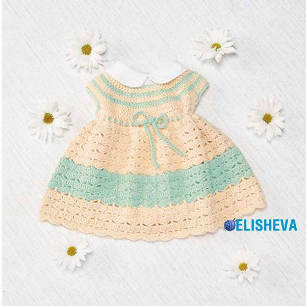 Детское платье с круглой кокеткой и узором ракушки вязаное крючком