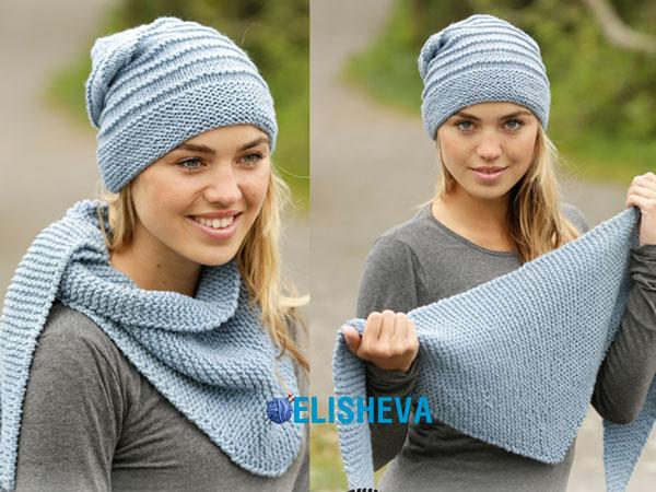 Комплект вязаный спицами: шапка и шаль от Drops Design